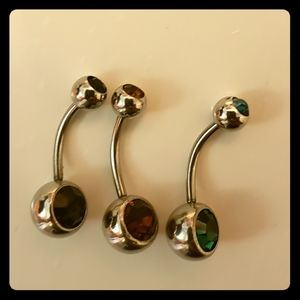 Jewelry - 3 NWOT Belly Button Rings